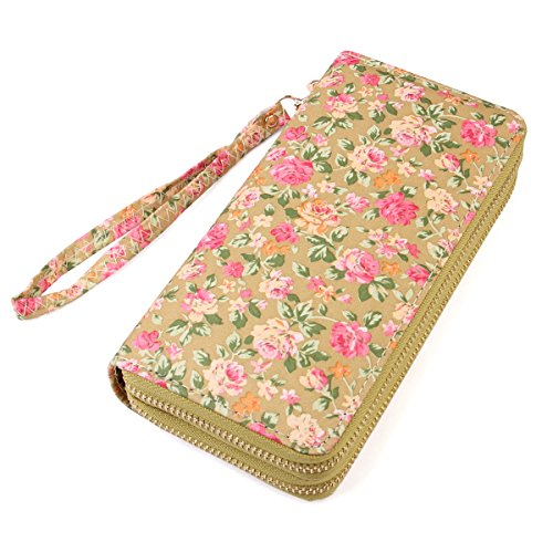 Lovely Floral Print Zip Around Wallet - Cute Flower Pattern Double Zipper Clutch Long Purse Card & Phone Wristlet Strap (French Roses - Yellow)