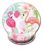 Non Slip Mouse Pad Wrist Rest for Office, Gaming,Computer, Laptop & Mac - Durable & Comfortable & Lightweight for Easy Typing & Memory Foam Pain Relief-Ergonomic Support (Cute Flamingos)