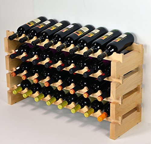 Modular Wine Rack Pine Wood 32-96 Bottle Capacity Storage 8 Bottles Across up to 12 Rows Stackable Newest Improved Model (32 Bottles - 4 Rows) by sfDisplay.com,LLC. (Image #1)