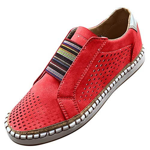 QueenMMWomen's Summer Breathable Casual Sneakers Lightweight Slip-on Round Toe Comfort Flats Shoes Red