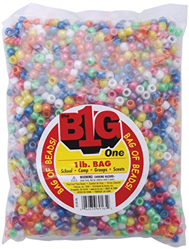 One Bag of 1 Lb Darice Pony Beads 9mm Pearlized Multi]()