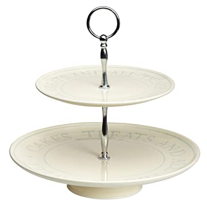 Kitchen Craft Classic Collection - Bandeja para tarta de cerámica (2 pisos, 28 cm