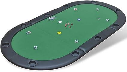Xinglieu Superficie Mesa de Poker para 10 Jugadores Plegable Verde ...