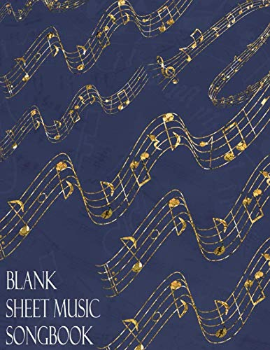 Jazz Music Sheet Vocal (Blank Sheet Music Songbook: Blue Golden Notes Musician Manuscript Paper Notebook   Theory Composition Performance Notation & Songwriting Booklet   100 (12 Staff/Stave) Cream Pages)