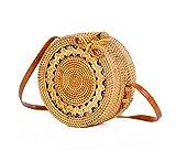 Designer Women's Handbag Bags Purely Handwoven 100% Natural Rattan women Bag Round Button Linen lining messenger bag