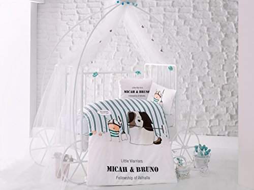 Bruno Green Baby Cot Bed Duvet Cover Set, 100% Cotton Soft and Healthy 4-Pieces Bedding Set by TI Home