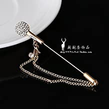 Ja and South Korea tide personality microphone tassel brooch men's suits crystal brooch women fashion girls up small collar pin plug Hot