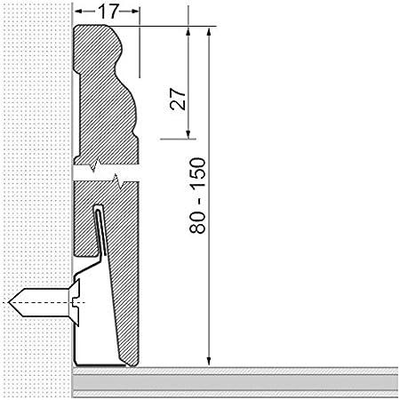 Sockelleisten Hamburger Profil 80mm x 17mm x 2.400mm Wei/ß Fu/ßleiste Berliner