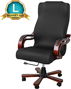 Unimore Office Chair Cover Black Removable Stretch Fabric Computer Rotating Chair Slipcover with Zippers Universal (Chair not Included)