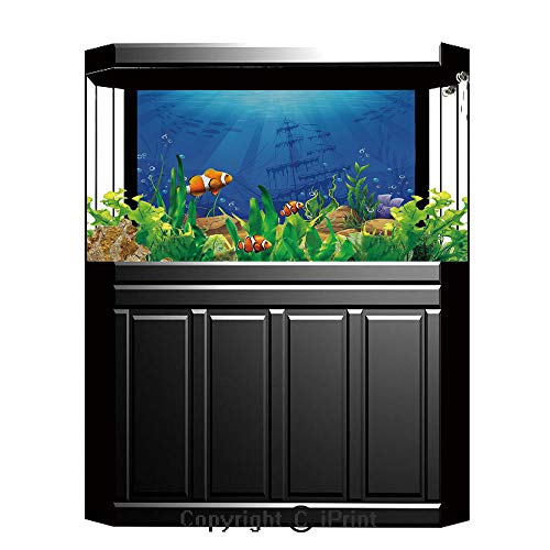 (Blue Wallpaper Sticker Background Decoration,Aquarium,Marine Life Landscape Sunken Ship Silhouette Corals Fishes Tropics Decorative,Blue Light Coffee Green,Artistic Portrait Photo Studio Props Video D)