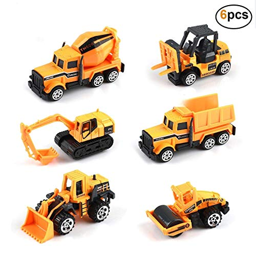 (Kids Construction Toys - Kids Birthday Gifts, 6 Pcs Play Vehicles Toy Construction Vehicles Toddlers Boys Small Kid Toys Mini Car Toys Set Die Cast Engineering Trucks Friction Powered Push Truck Toys)