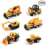 Kids Construction Toys - Kids Birthday Gifts, 6 Pcs Play Trucks Toy Construction Truck Toddlers Boys Small Kid Toys Mini Car Toys Set Die Cast Engineering Excavator Digger Friction Powered Push Trucks