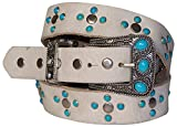 FRONHOFER Boho style women's leather belt with turquoise studs, white, brown, Size:waist size 37.5 IN L EU 95 cm, Color:Cream