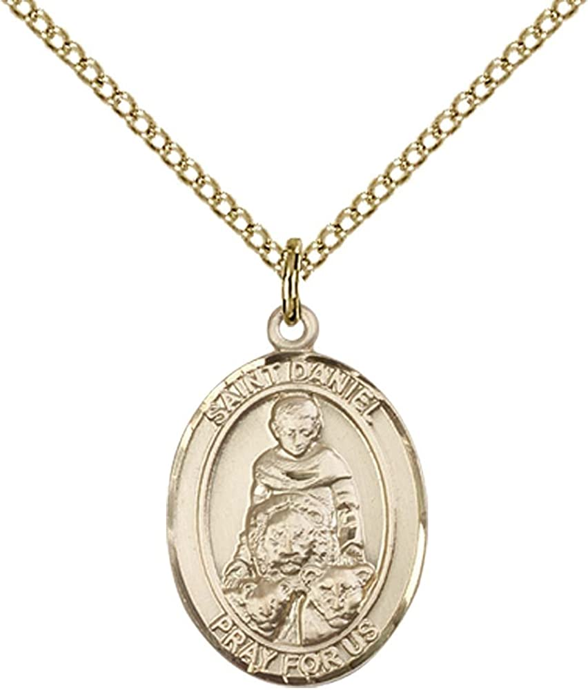 14kt Gold Filled St Patron Saint of Prisoners Daniel Pendant with 18 Gold Filled Lite Curb Chain