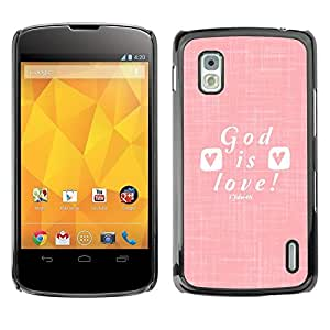 Impact Case Cover with Art Pattern Designs FOR LG Nexus 4 E960 God Is Love Jesus Christ Christian White Betty shop