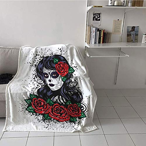 Khaki home Children's Blanket Ultralight All Season Blanket (60 by 70 Inch,Skull,Dead Hair Sugar Skull Lady with Roses in Retro Ink Style Design Print,Red Black White Green ()
