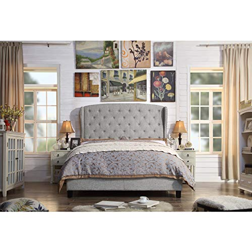 (Rosevera Nielsen Upholstered Wingback Headboard (King, Gray))