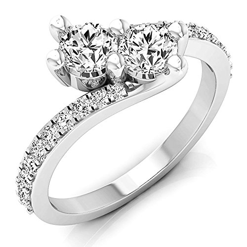 1.00 Carat (ctw) 14K Gold Round White Diamond Ladies Two Stone Bypass Style Bridal Engagement Ring 1 CT