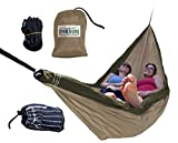 Trek Light Gear Double Hammock - The Original Brand of Best-Selling Lightweight Nylon Hammocks - Extra Wide for the Most Comfort - Use for All Camping, Hiking and Outdoor Adventures {Silver/Charcoal}