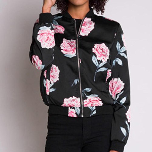 Jacket Blouson Noir Longues Veste Bombers Femme Manches Vest Molto Fleuri vdZOnq