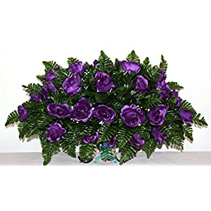 XL Purple Roses Cemetery Tombstone Saddle Arrangement 105