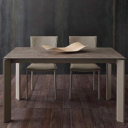 Tavolo Con Prolunghe Per 10 Persone In Ceramica Colore Tortora Eva Amazon It Casa E Cucina