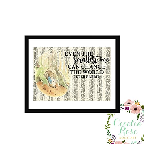 Even The Smallest One Can Change The World Beatrix Potter Peter Rabbit Nursery Farmhouse Style Upcycled Vintage Book Page Art Unframed Print with book image