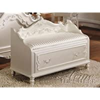 ACME 01021 Pearl Storage Bench, Pearl White Finish