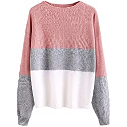 Milumia Women's Drop Shoulder Color Block Textured Jumper Casual Sweater One Size Pink