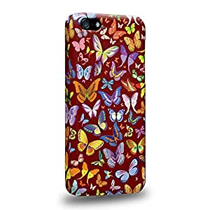Case88 Premium Designs Art Rosewood Butterfly Patterns Carcasa/Funda dura para el Apple iPhone 5c