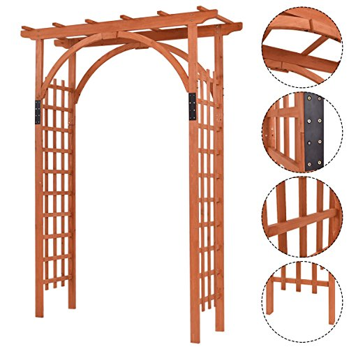 New Premium Outdoor Wooden Cedar Arbor Arch Pergola Trellis Wood Garden Yard Lattice by MTN Gearsmith