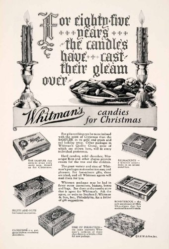 1927 Ad Whitman's Chocolate Candy Christmas Box Candle Sampler Salmagundi Fruit - Original Print Ad