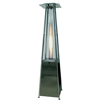 Palm Springs Pyramid Quartz Glass Tube Flame Patio Heater   Stainless Steel