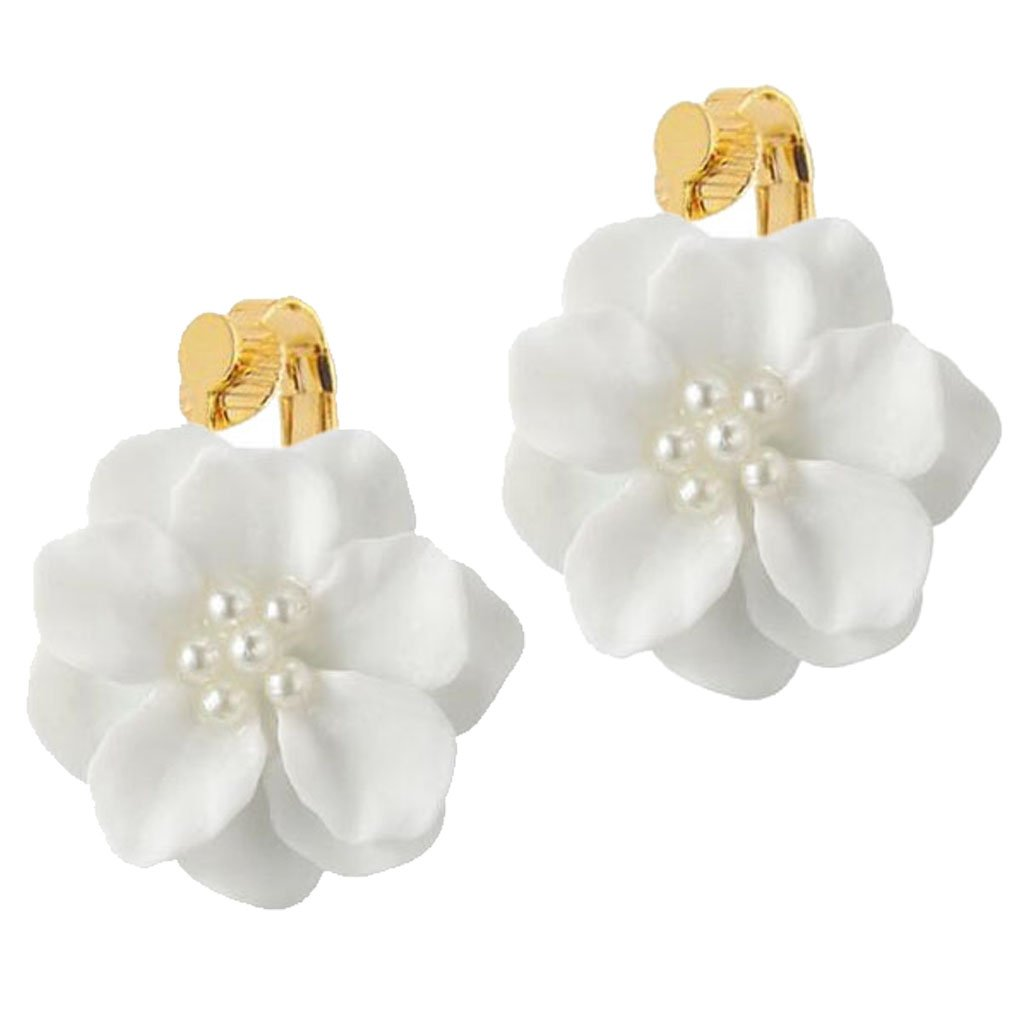 d836b9203e99f Fashion Clip on Earrings Simple White Camellia Flower Simulated Pearl  Jewelry for Girls Women Gifts