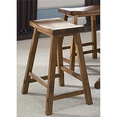 """Liberty Furniture 38-B1824 Creations II Sawhorse Barstool, 19"""" x 16"""" x 24"""", Black and Tobacco"""