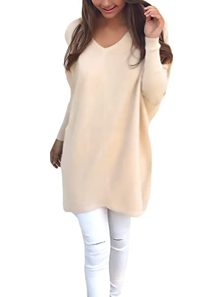 Jersey Mujer De Punto Invierno Manga Larga Cuello Pico Suelto Casual Otoño  Medium Largos Prendas De Punto Tejer Suéteres Jerseys Jerséys Suéter  Pullover Top ... 13335b9023d1