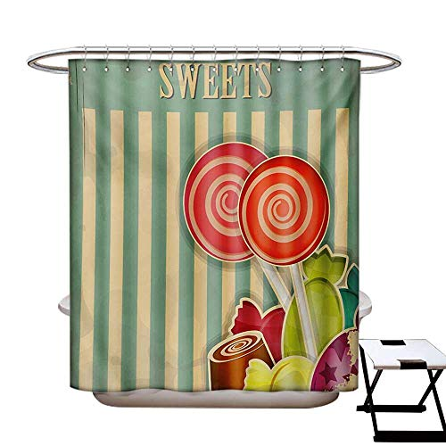 Vintage Shower Curtains 3D Digital Printing Retro Old Candy Store Chocolates Lollipops White Stripes on Baby Blue Backdrop Custom Made Shower Curtain W48 x L72 Multicolor (Custom Chocolate Lollipops)