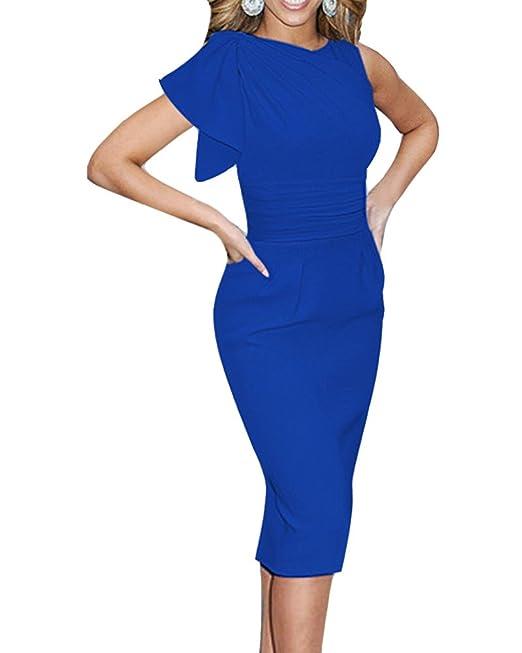 Mujeres Otoño Mangas Volantes Noche Apretado Vestido Con Dobleces Decoración Azul Oscuro S