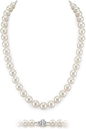 THE PEARL SOURCE 14K Gold Round White Freshwater Cultured Pearl Necklace for Women in 20 Matinee Length