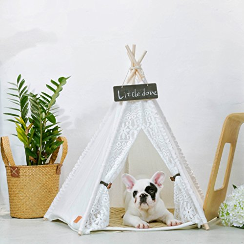 51p0qvi7P4L - little dove Pet Teepee Dog(Puppy) & Cat Bed - Portable Pet Tents & Houses for Dog(Puppy) & Cat Lace Style (with or without optional cushion)