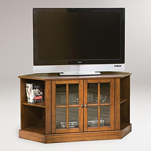 Thomas Corner Media Stand - Center Storage Area w/ Adjustable Shelf - Walnut Wood - Corner Media Storage