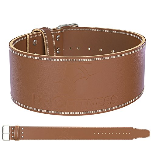 ProFitness Genuine Leather Workout Belt (10MM Wide) - Proper Weightlifting Form - Lower Back and Lumbar Support for Exercises, Powerlifting Workouts, Deadlifts (Medium, Classic Tan)