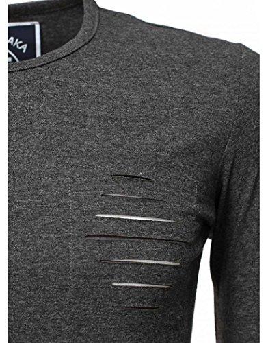 Tee a righe Tanaka a grigio maniche Shirt lunghe Akito tqvw4