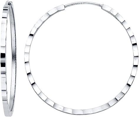 Diameter - 30 MM TGDJ 14K White Gold 1.5mm Square Tube Hoop Earrings