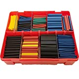 Whatnot Widgets 600 pc 2:1 Heat Shrink Tubing Wrap Kit 27 Total Meters - 6 Sizes 5 Colors - Free Plastic Storage Case - Includes Black Green Yellow Blue Red Color Thin Wall Wire Connector Tube