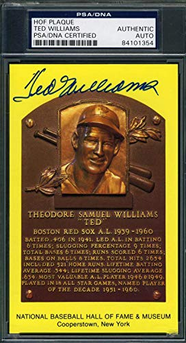 TED WILLIAMS PSA DNA Coa Autograph Gold HOF Plaque Hand Signed Authentic