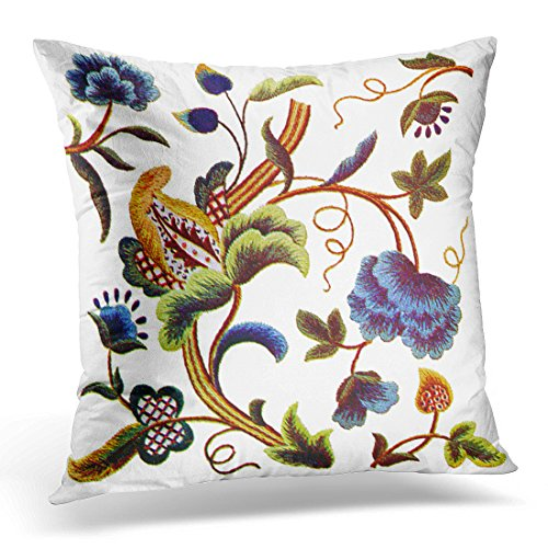 Crewel Velvet Pillow (TORASS Throw Pillow Cover Beautiful Blue Jacobean Crewel Women Decorative Pillow Case Home Decor Square 18x18 Inches Pillowcase)