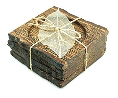 IYARA CRAFT Wooden Coasters for Drinks Tea Cups Saucers,Table topper decoration set square shape made by palm Wood