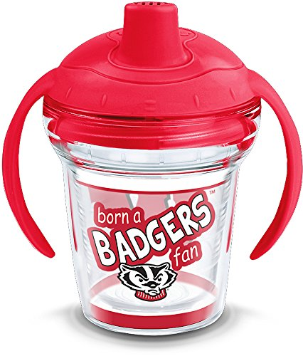 (Tervis 1292053 NCAA Wisconsin Badgers Born a Fan Sippy Cup with Lid, 6 oz, Clear)