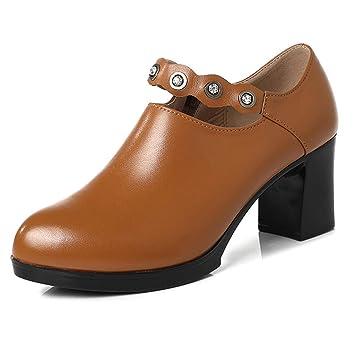Mujer Botines Casuales Botines De Cuero a Prueba De Agua Martin botas de Chelsea Zapatos de Trabajo Cómodos Mocasines De Oficina Tacones Altos Mary Jane: ...